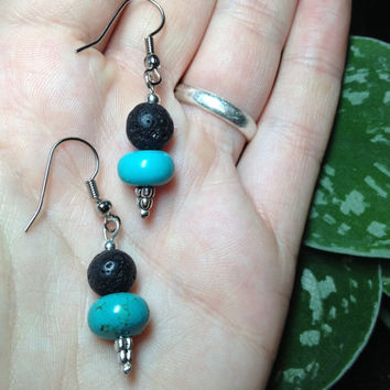 Beautiful Turquoise and Lava Stone Aromatherapy Essential Oil Diffusing Earrings