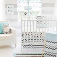 Chevron in Aqua/Gray Crib Bedding Set