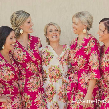 Bridesmaids Robes - Set of 5 - Kimono Crossover Robe Spa Wrap Perfect bridesmaids gift, getting ready robes, Weddingl shower party favors