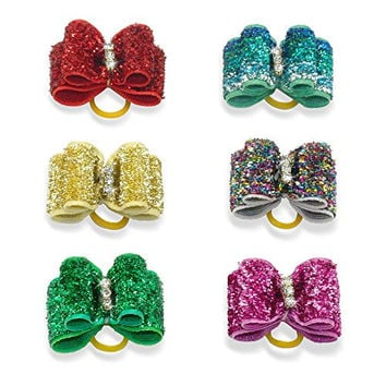 Berry 20pcs Cute Dog Hair Bows with Rubber Bands - Crystal Rhinestone Studded - Sparkly Nylon Pet Grooming Accessories for Long Hair Dog & Kitten - Perfect for Poodles,Yorkshire Terrier, Shih Tzu