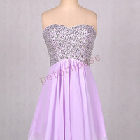 Lavender Beaded Short Prom Dresses ,Bridesmaid Dresses ,Wedding Party Dresses,Party dresses, Homecoming Dresses, Fashion Party Dresses