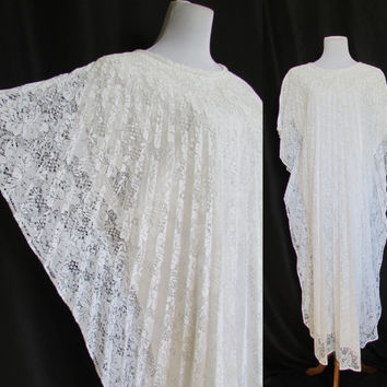 Vintage Lace Caftan Maxi Dress 70's OSFM