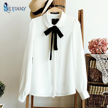 Female Elegant Black Bow Tie White Blouses Chiffon Peter Pan Collar Casual Shirt Ladies Tops School Blouse womens tops and shirt