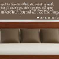 ONE DIRECTION LITTLE THINGS SONG LYRIC WALL ART STICKER DECAL QUOTE
