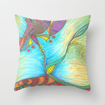 Dawn's Tangled Flower Throw Pillow by k_c_s