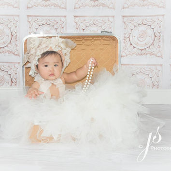 Lace Flower Bonnet in Cream and Pink, Newborn to 6 Months, Photo Prop, Photography Prop
