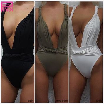 Sexy Swimsuit Women 2017 Monokini Thong One Piece Body Suit Sport Swimwear Backless Bandage Black White Bathing Suit Bottoms
