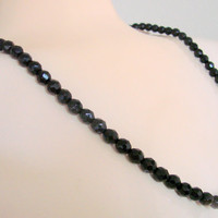 """Mid Century Basic Black Faceted Glass Bead Necklace / 27"""" Long / 8mm Beads / Vintage Jewelry / Jewellery"""