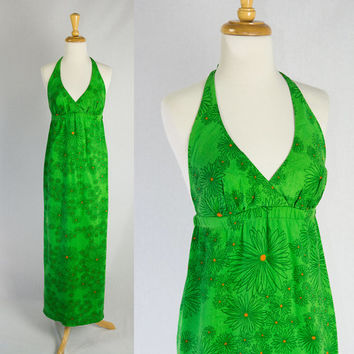 Vintage 70's Mod Daisies HAWAIIAN Halter Maxi Dress Green Delight!