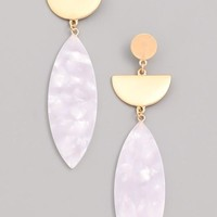 Half Moon Drop Statement Earrings - White
