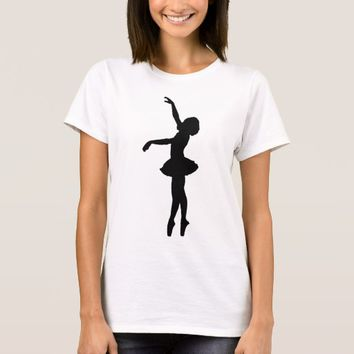 Ballet Dancer Black Silhouette T-Shirt