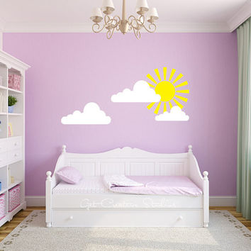 Sunshine Decal Wall Sticker with Clouds - Princess, Fairy Tale, Sun, Light, Yellow, White, Rays, Daytime, Sky