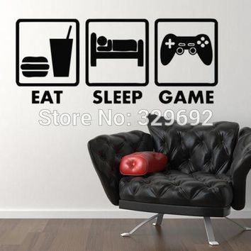Controller Joysticks Video Games Eat Sleep Game Xbox Vinyl Decal Home Decor Wall Sticker VInyl Decoration Wall Mural tx-410