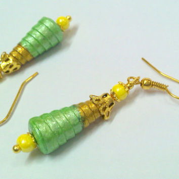 Paper Earring - Quilled cone Jhumka Gold and Green colour