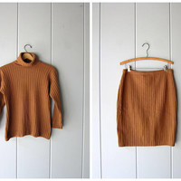 Vintage 90s Knit Top Wool Ribbed Turtleneck Sweater Minimal Lambswool Angora Sweater Camel Brown Preppy Modern Sweater Womens Petite Small