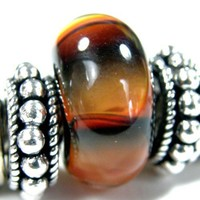 Black And Orange Fade Handmade Large Hole Lampwork Bracelet Charm Bead