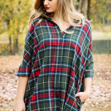 Green & Red Flannel Dress