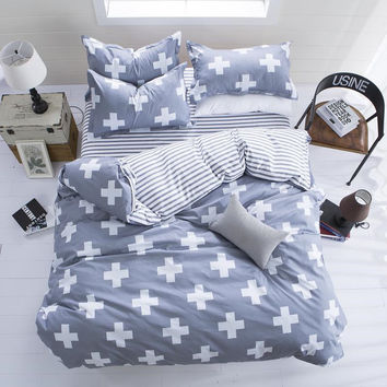 The Nordic style Bedding Set 4pcs Duvet Cover set twin Full queen size bed set printed sheet bed linen bedclothes Pillowcase