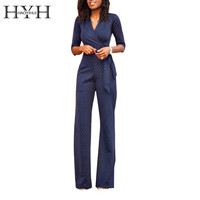 HYH HAOYIHUI Streetwear Women Jumpsuit Solid Navy Lace Wrap Tie Front Half Sleeve Jumpsuit V-Neck Loose Casual Jumpsuit