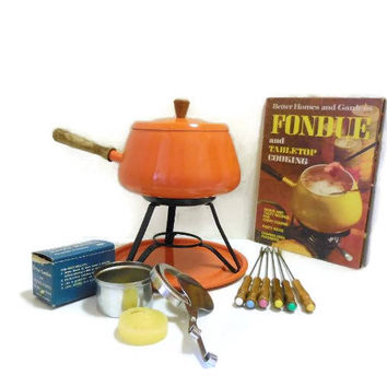 Retro 1970's Orange Fondue Pot Set with Forks & Cookbook