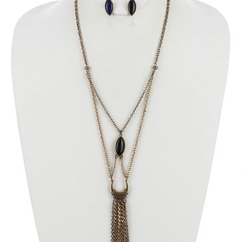 Marquise Cut Stone Rhinestone Chain Fringe Layered  Spike Chevron Etched Crescent Necklace Earring Set