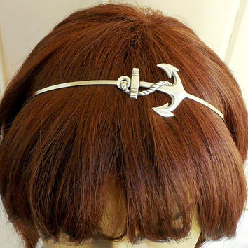 Steampunk Anchor Headband- Sterling Silver Ox Finish- Nautical Headband-Large Anchor