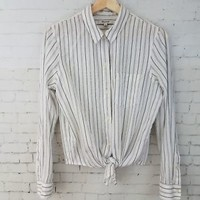 Madewell Womens Top Size M Tie Front Crop Long Sleeve White Gray Striped Shirt