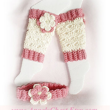 PDF Crochet Pattern Lovely Eggshell with Flowers LEG Warmers Size Newborn to Preteen Photo Prop No. 20