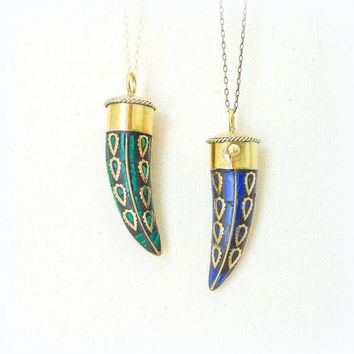 Horn Pendant Necklace with Brass and Lapis Lazuli Stone