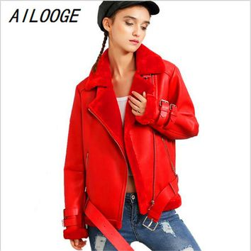 AILOOGE Thick Pu Leather Jacket Short Loose Lamb Wool