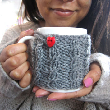 Coffee Mug Cozy with Heart Button – Knit Coffee Mug Warmer – Cute Valentines Gift for Him - Knit Mug Cozy – Coffee Mug Cover – Grey Mug Cozy