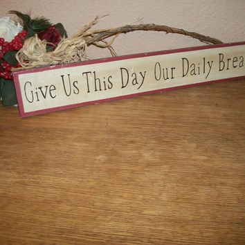 Give Us This Day Our Daily Bread Wall Hanging Sign Rustic Wood Grapevine Raffia Lord's Prayer Blessing Red Blue Kitchen Dining Room Decor