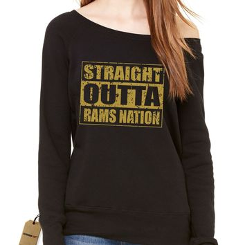Straight Outta Rams Nation Football Slouchy Off Shoulder Oversized Sweatshirt