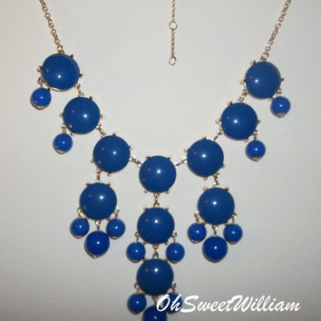 Bubble Necklace J Crew Inspired - Royal Blue Statement Bib Necklace
