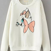 White Lace Bow Cat Embroidered Long Sleeve Sweatshirt