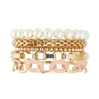 Chain & Pearl Stackable Bracelets - 5 Pack - Lt Pink