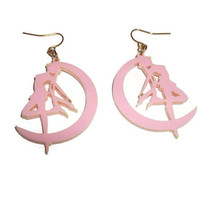 Sailor Moon Earrings, Kawaii Pastel Pink or Black, Kawaii Anime, Usagi, Laser Cut