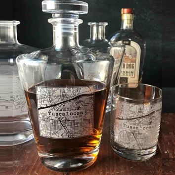 College Town Alumni Etched Map Whiskey Decanter