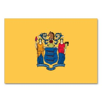 Patriotic table card with Flag of New Jersey