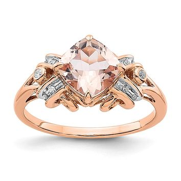14k Rose Gold Diamond and Morganite Ring
