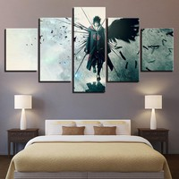Naruto Sasauke ninja Canvas Poster Home Decor Modular Wall Art Framework 5 Pieces  Anime Uchiha Sasuke Paintings Living Room HD Prints Pictures AT_81_8