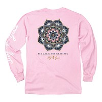 Bee Calm, Bee Grateful Long Sleeve Tee in Blossom by Lily Grace - FINAL SALE