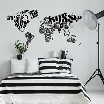 World Map with Country Names Wall Decal Mural Vinyl Sticker Geography Decor- Office Wall Decal- Large World Map Decal Home Wall Decor K163