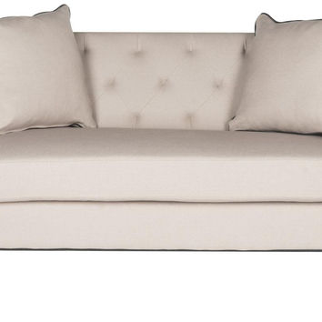 Sarah Tufted Settee With Pillows Taupe&Black