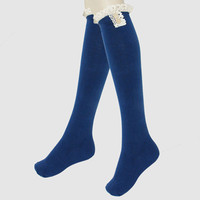 Delicate Buttons & Lace Ruffled Knee High Boot Socks - Cobalt