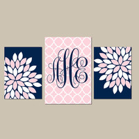 NAVY PINK Wall Art CANVAS or Prints Baby Girl Nursery Wall Art Pictures Girl Bedroom Artwork Girl Nursery Decor Girl Monogram Set of 3
