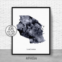 Tanzania Print, Travel Map, Tanzania Map Print, Travel Decor, Travel Prints, Living Room Wall Art, Office Pictures, Art Print Zone