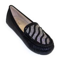 Rhinestone Embellished Loafers Black and White