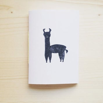 Pocket Notebook with Linocut Llama Illustration Hand bound Jotter, Eco Friendly, Back to School