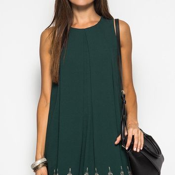 Scallop Embroidery Shift Dress